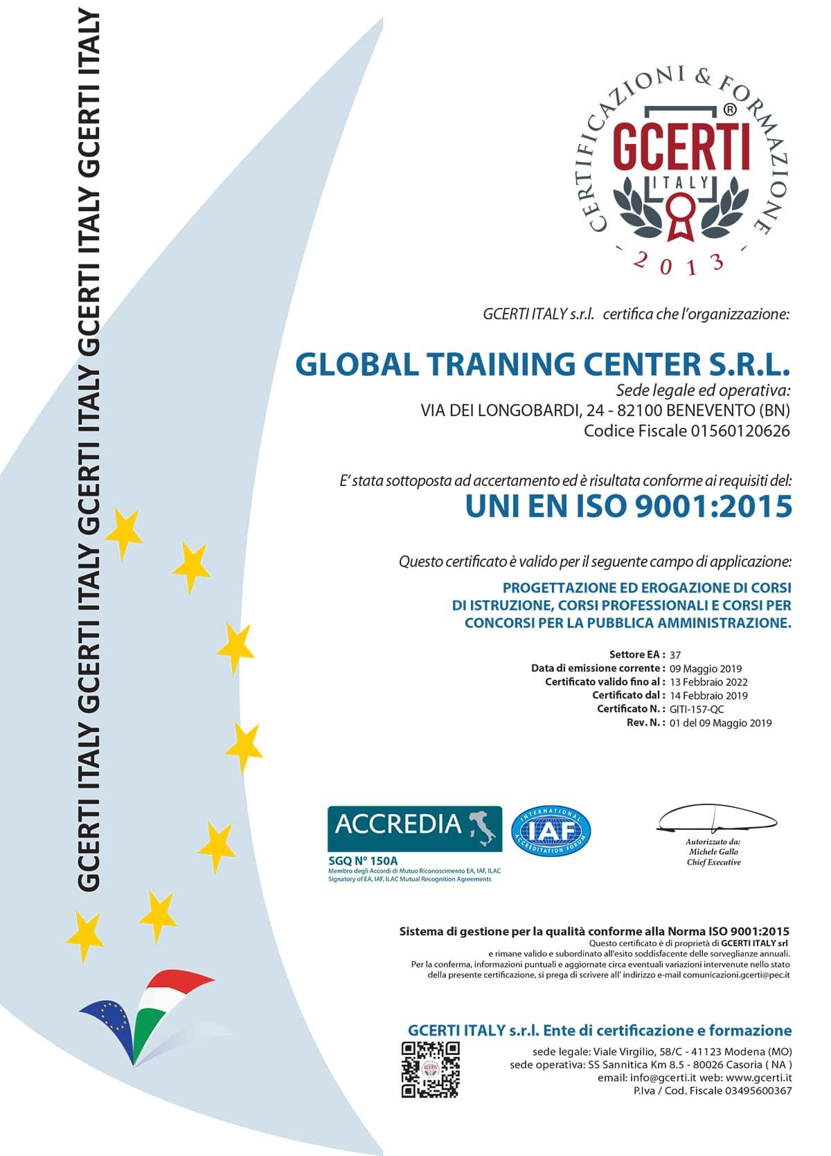 GLOBAL TRAINING CENTER Certificazione